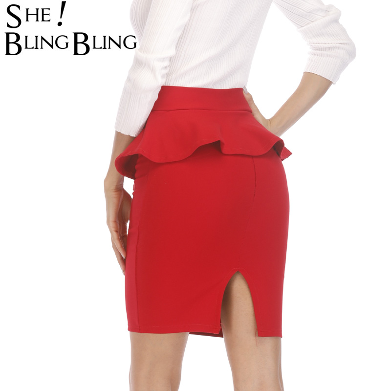 SheBlingBling Summer Office Lady Skirts  Fashion Flounced Slim Stretch High Waist Package Hip Skirt Plus Size Pencil Skirts