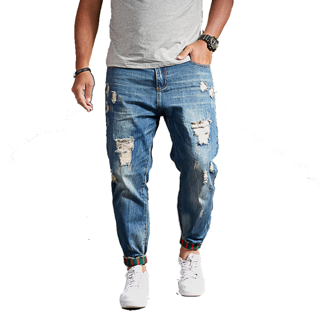 79c3ee1e0e006 Plus size men jeans slim Ankle-Length Pants 8xl 4xl 6xl 48 50 52 Fashion Stretch  male Jeans Denim Jogger Design Hip Hop For Men