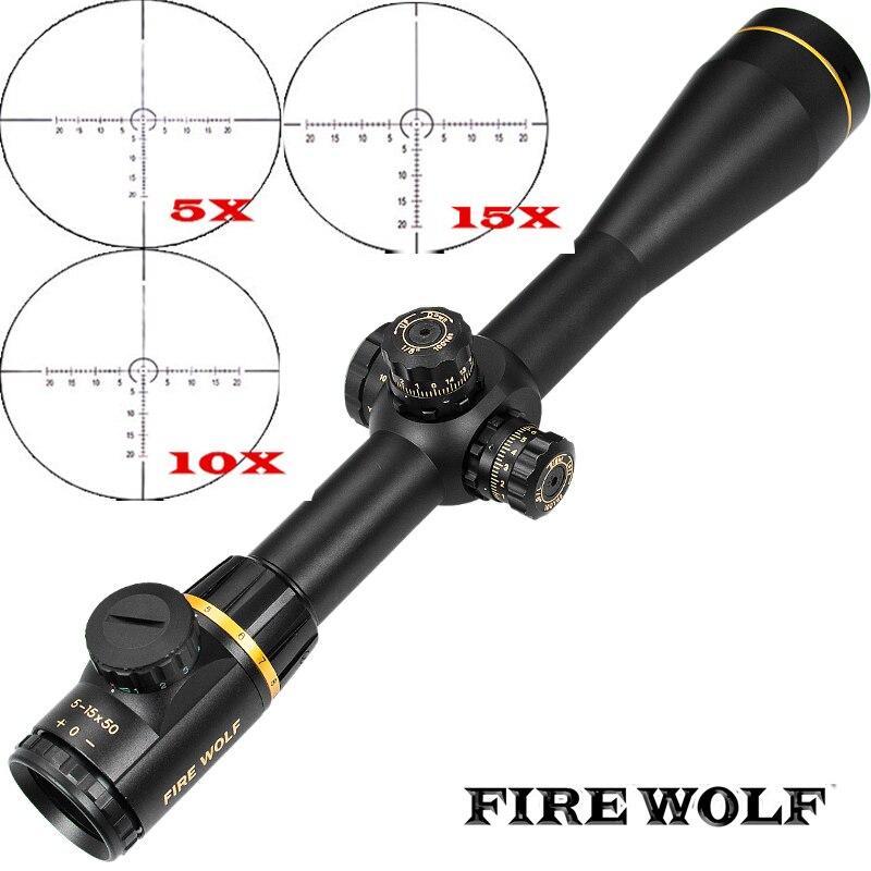 FEU LOUP 5-15X50SF D'or Optique Lunette De Visée Latérale Parallaxe Tactique de Chasse lunettes de Visée Portée Supports Pour Airsoft Fusil de Sniper