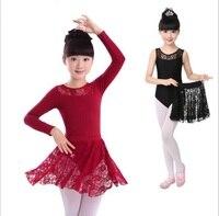 Kids Girls Ballet Dance Dancewear Gymnastics Leotard Lace Skirt Tutu Strap Dress Cotton Lycra Lace Black