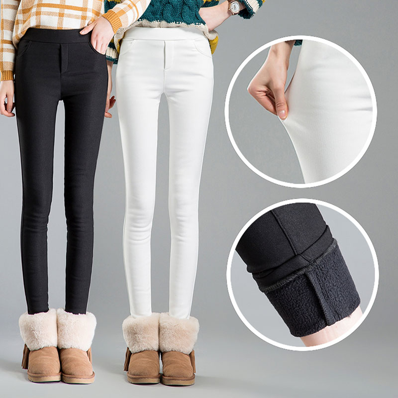 High waist women 2017 Winter warm velvet office work pencil   pants     capris   plus size ladies formal trousers female dropshipping