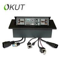 OKUT Multi-fonksiyonel Masaüstü Soket DIP Multimedya Gizli Masaüstü Bilgi Kutusu Upspring HDMI + VGA + USB + Ağ + sesli K514