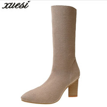 XUESI Winter New Wool Tip Martin Bootsets Of Feet High-heele Shoes High Heel Women Leather Shoes Snow Boots Winter Bottes Sexy