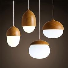 American Country Pendant Light Creative Wood Pendant Lamp Glass Ball Hanging Lamp Nordic Designer Light Art Deco Lighting Abajur