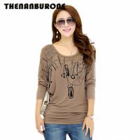 THENANBURONE New 2017 Soft Winter Long Sleeve T-Shirt Women Cotton Bottoming Tshirt Casual Loose Tops Plus Size Ropa Mujer XXXL