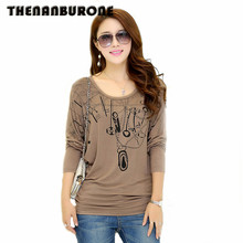 Thenanburone Новый 2017 мягкая зимняя футболка с длинными рукавами женщин хлопка дна футболка случайные свободные топы плюс Размеры женская одежда XXXL