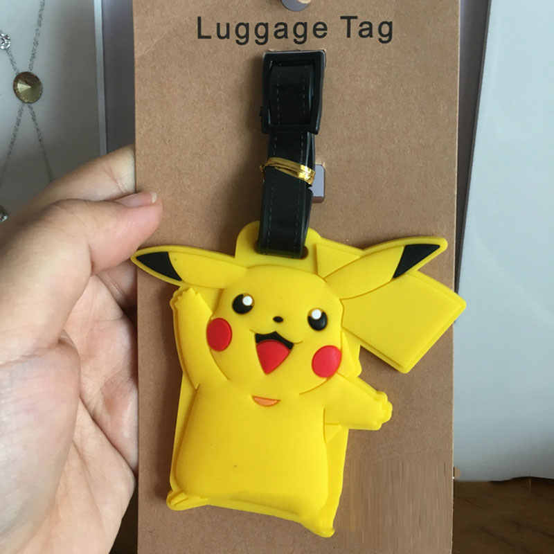 Travel Accessories Luggage Tag Cartoon Silica Gel Pokemon Pikachu Suitcase Baggage Boarding Tags Portable Label etiquette bagage
