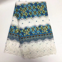 2018 African Super Wax With Lace High Quality Nigerian French Lace Fabric Match Super Wax Hollandais