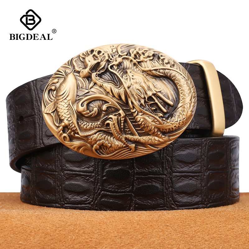 BIGDEAL Men's Belts Cowhide Genuine Leather Pin Buckle Belts Jeans Male Vintage Waistband Strap Leather Belt For Men