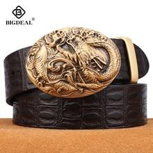 BIGDEAL Men's Belts Cowhide Genuine Leather Pin Buckle