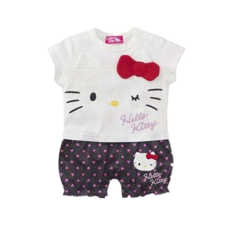 New Baby Girl Clothes Cute Hello Kitty Dot Striped Print Short Sleeve Cotton Romper Infant Jumpsuit Roupas Bebe Newborn Clothing cute baby girl ruffles romper newborn children hello kitty playsuit clothing infant kids girls cartoon jumpsuit clothes with hat