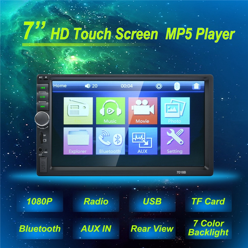7018B Car audio 7 Inch 2 DIN autoradio Stereo Touch Screen auto Radio Video MP5 Player Support Bluetooth TF SD MMC USB FM camera luces led de policía