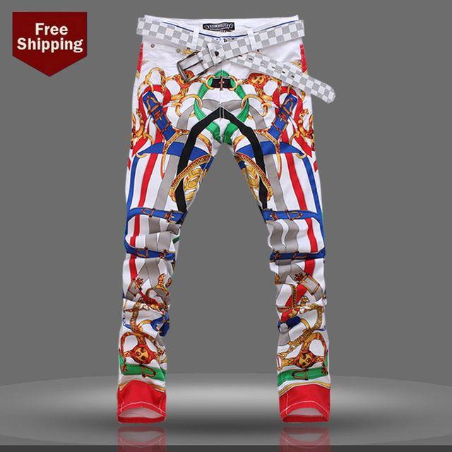 Aliexpress.com : Buy mens jeans brand Multi color print jeans for ...