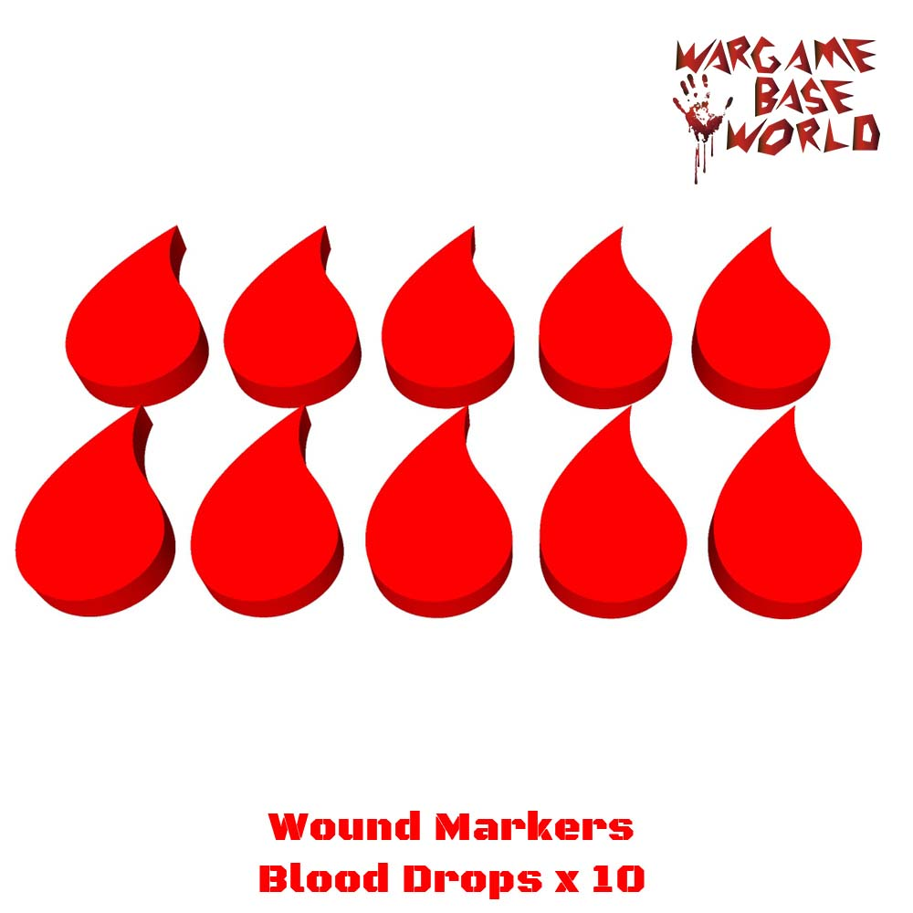 Wargame Base World - Wound Markers - Blood Drops