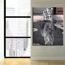 Drawing By Numbers Frame Animal Cat DIY Painting Acrylic On Canvas Kits Wedding Decoration Oil Wall Art Tiger Popular Picture(China)