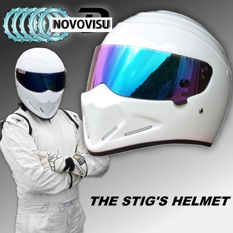 купить NOVOVISU The STIG Helmet / TG Fans's Collectable / Like as SIMPSON Pig / White Motorcycle Helmet with Colorful Visor Cosplay по цене 5040.8 рублей