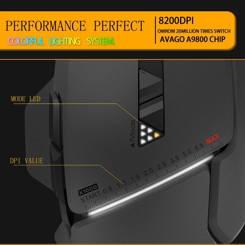 2019 nouveau USB2.0 souris de jeu filaire professionnelle 8 boutons 8200 DPI laser USB souris d'ordinateur filaire Gamer grande souris - 6