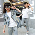 Otoño Invierno Ropa de Niños Ropa de La Muchacha Trajes de La Escuela Establece Conjunto Denim Chaqueta Denim Jeans de manga larga T-shirt 3 Unids trajes Set