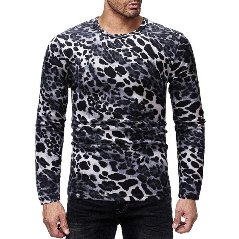 Men o neck Leopard long sleeve t shirt fashion slim male tee shirt homme 2019 streetwear funny men tops hip hop t shirts