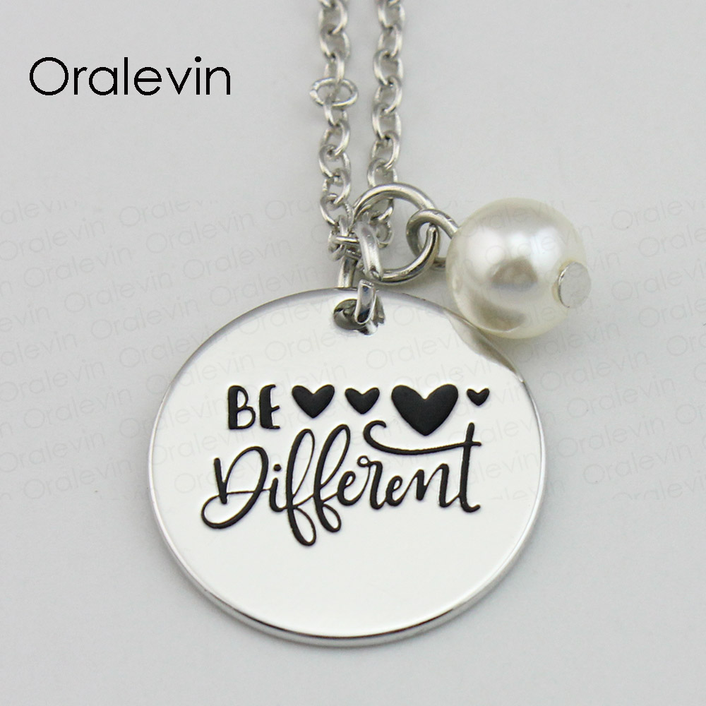 Be Different Inspirational Hand Stamped Custom Necklace