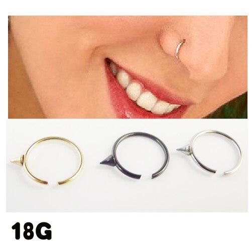 2pcs Medical Nostril Black Gold Silver Spike Nose Hoop Nose Rings