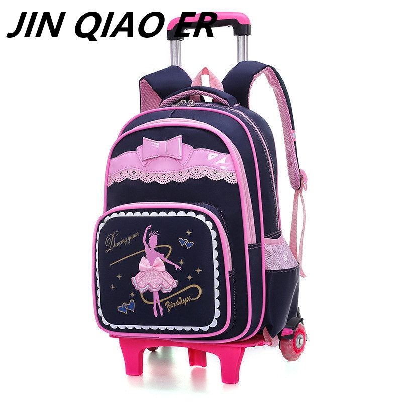 Lovely Bows 2 Wheels children Trolley school bags backpack detachable waterproof Girls travel bags as gitfs