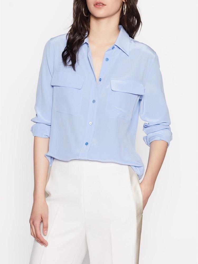 Women Shirts 100% Silk Long Sleeve Pockets Double Haut Femme Blouse Woman New 2019