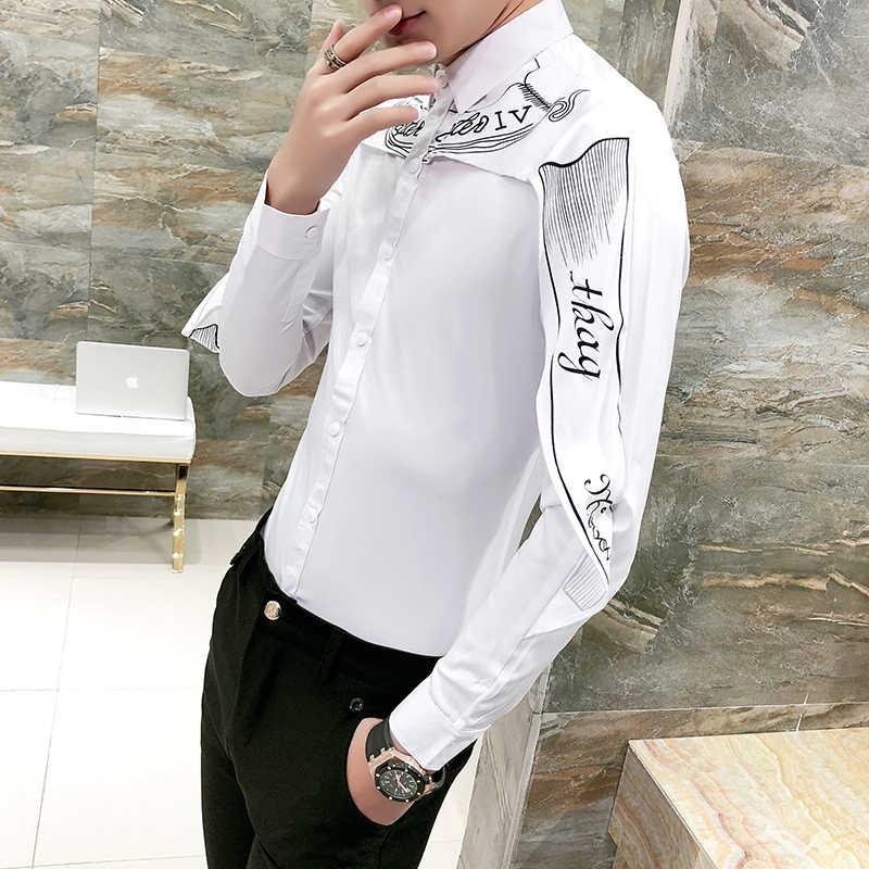 デザイナーシャツ韓国ファッション2018長袖スリムフィットゴシックシャツカミーサ男性結婚式シャツパッチワークシャツブラックホワイト