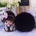 New Style Cartoon Crystal bowknot Monchichi Monchhichi car real Rabbit fur pom pom PomPom Keychain Key chain Woman Bag pendant
