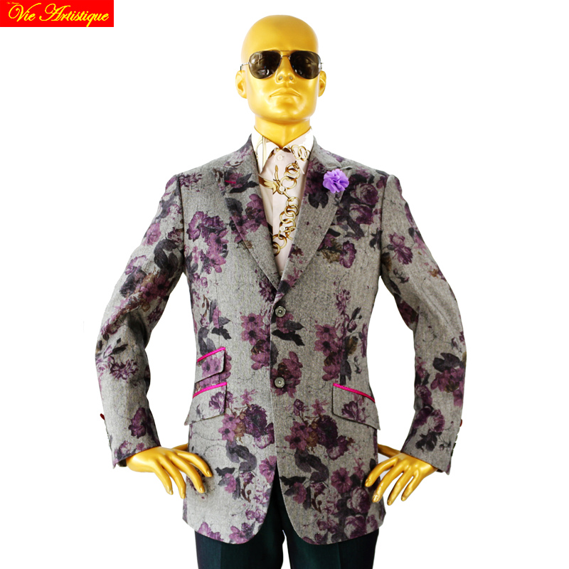 Custom Tailor Made Men's Bespoke Suits Business Designer Wedding Bespoke 2 Piece Suit(Jacket+Pants) Grey Floral Wool Slim Fit 19