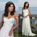 Hot Sale 2016 Sexy Chiffon Praia Vestidos de Casamento Baratos A linha de Sweetheart Vestidos bohemian Briadl vestido de Noiva Robe de mariage