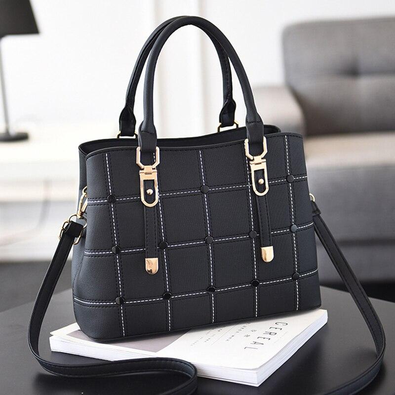 PU Leather Large Capacity Woman Handbag Grid Shoulder Bag Fashion Casual Luxury Designer Crossbody Bag Ladies PurseBag Mama Bag