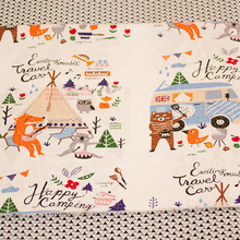 160cm*100cm pure Cotton twill fabric diy handmade high quality cotton baby bedding cartoon fox camping bear printed cloth fabric