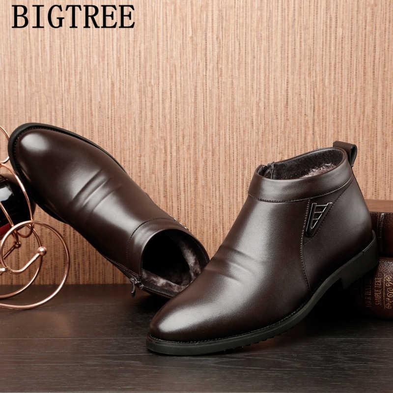 Зимняя обувь для мужчин; коллекция 2019 года; обувь для пап; ботильоны; мужские кожаные модельные ботинки; официальная обувь; Мужская классическая обувь; zapatillas hombre deportiva