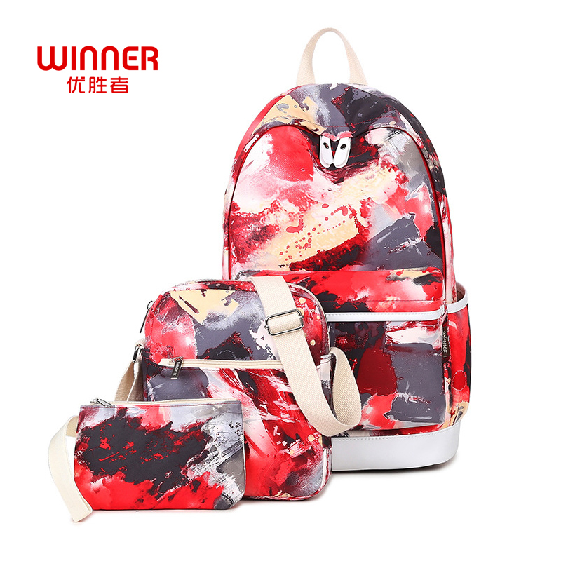 WINNER 3Pcs Set Casual Backpack Women Graffiti Printing Backpacks School Canvas Backbags for Teenage Girls Bagpack