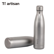 Tiartisan 500ml Titanium Water Bottle Outdoor Camping Hiking Climbing Sports  Ultralight Two Covers