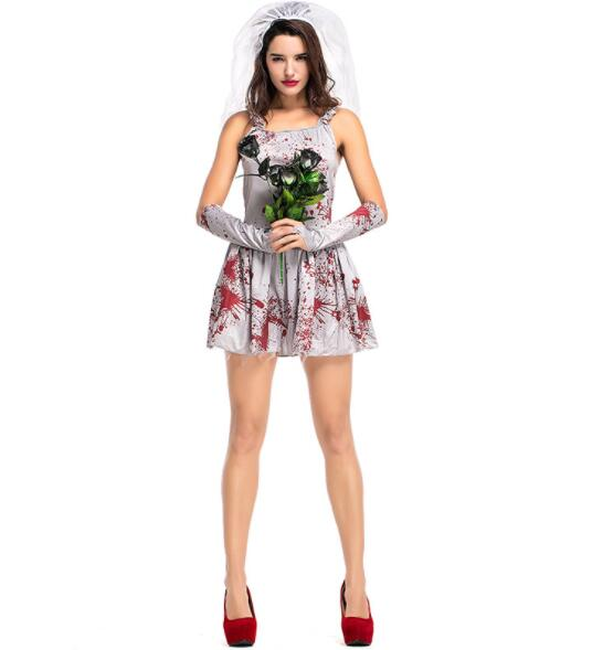 sexy  bloody Ghost Bride Costume Halloween Adult Women Scary Ghost Bride Cosplay Uniform Fantasia Fancy Dress short dresses A086