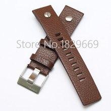 22 mm 24 mm 26 mm 28 mm 30 mm nuevos Mens de la alta calidad piel marrón genuino correas de reloj correa pulseras cepillado cierre de acero