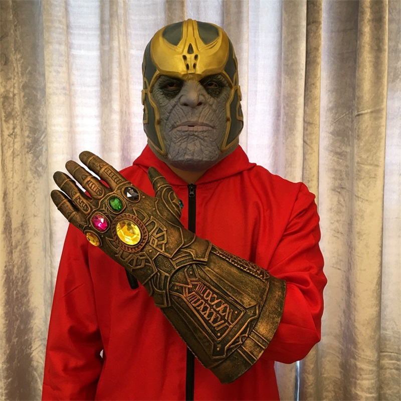 2018 Avengers Infinity War Thanos Latex Mask Infinity Gauntlet Cosplay Gloves Halloween Props