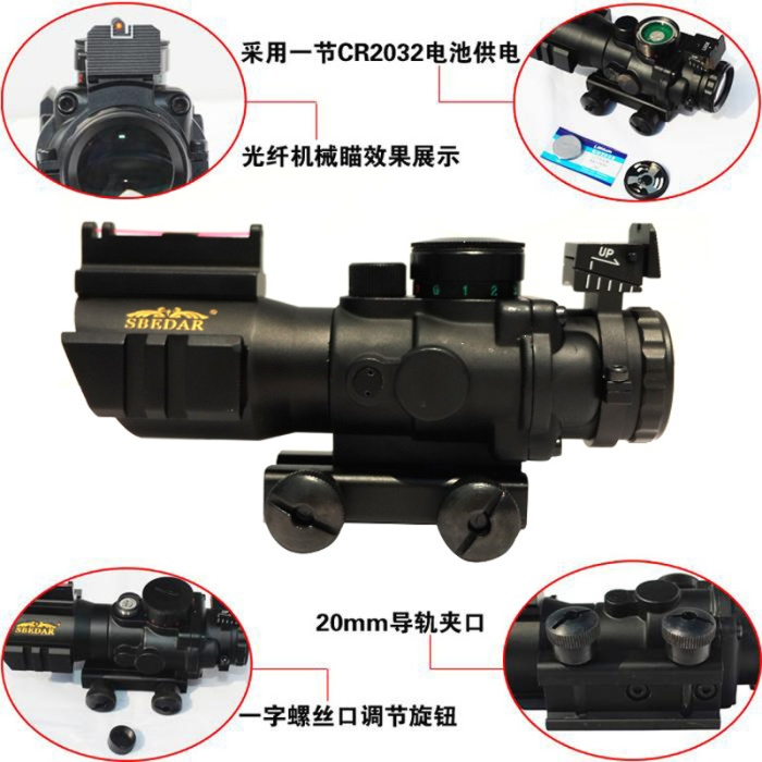 4X32 Tactical Rifle Scope W/ Tri-Illuminated Chevron Reticle Fiber Optic Sight Scope Rifle/Airsoft Gun Hunting 20 mm rail tactical 4x32 compact rifle scope w tri illuminated reticle optic sight airsoft hunting riflescope