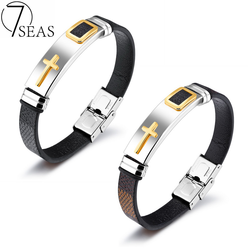 7SEAS Punk Stainless Steel Cross Bracelet Mens Black/Brown Color Leather Bracelets&Bangles Spring Clasp Jewelry Dropship PH1156