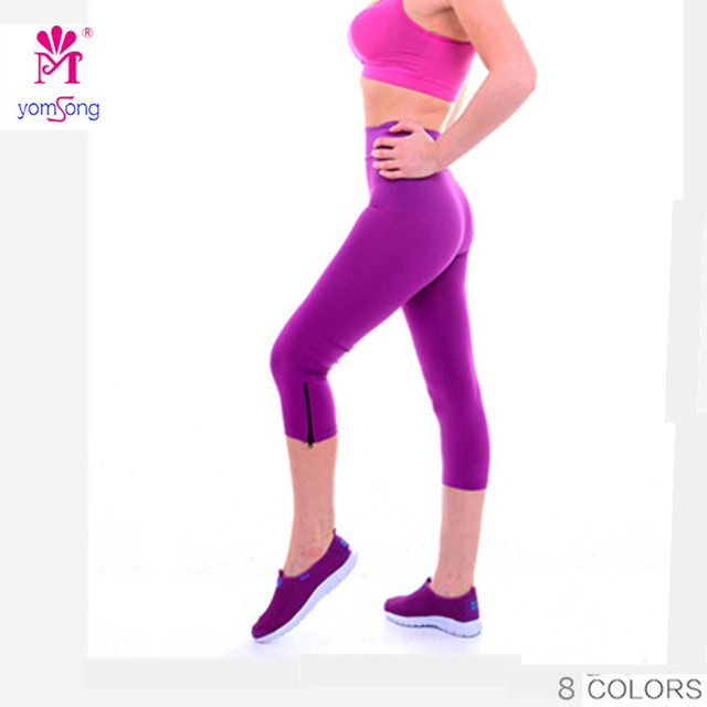 Yomsong Fashion Candy Color Capris High Waist Stretched Leggings Casual  Pants Capris  Fitness  107