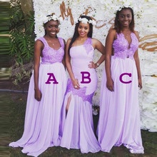 Lilac Color Plus Size Nigeria Bridesmaid Dresses Three Style Lace Applique Mermaid A Line Maid Of Honor Gowns Guest Dress
