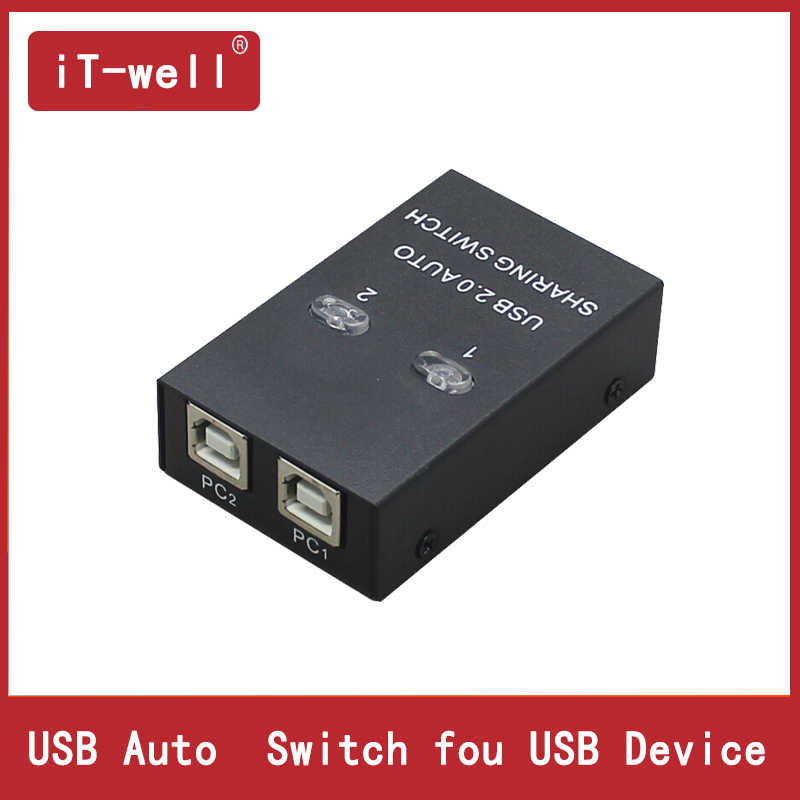 IT-well usb-концентратор USB Auto Sharing Switch для 2 компьютеров sharing Printer поддерживает 2 компьютера для совместного использования 1 usb-устройства