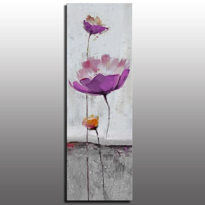 Konda Art Framed Handmade Purple Flower Oil Painting On: ᗔHeavy Texture Purple Flower Modern Abstract Oil Painting