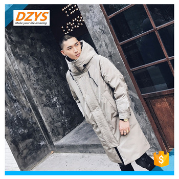 DZYS Men's Winter Knitting Embroidered Long Hooded Quilted Jacket Cotton Clothing Fashion Cotton