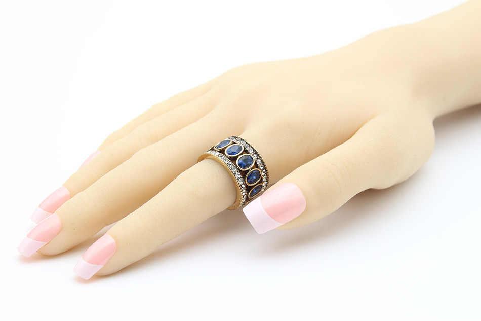 Vintage ตุรกีแหวนนิ้วมือผู้หญิงรอบรูปไข่เรซิ่นคริสตัล Caesar แหวนทองโบราณสีชาติพันธุ์ผู้ชายเครื่องประดับแหวนมงกุฎ