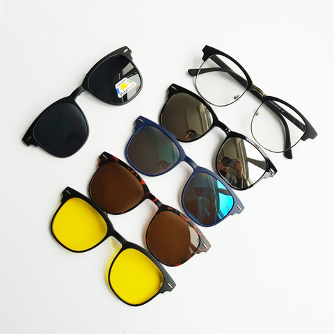 5 in 1 Clip On Sunglasses with Polarized Mirror Flat Night Vision Magnetic Lens Clips Optical Myopia Glasses Prescription Pakistan