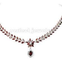 Гранат ожерелье естественные и реальные гранат серебро 925 Изящные ювелирные красные камни 0.09ct* 130 шт., 1.4ct* 1 шт. камни