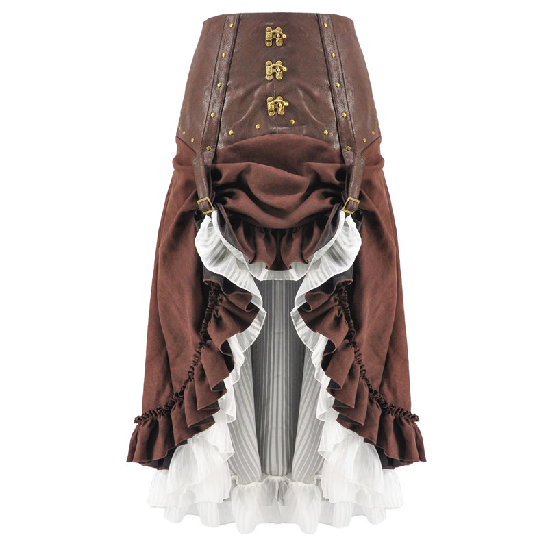 Vintage Brown & White Lace Up Asymmetrical Ruffles Victorian Steampunk Skirt Plus Size Gothic Clothing Women Long Sexy Skirts